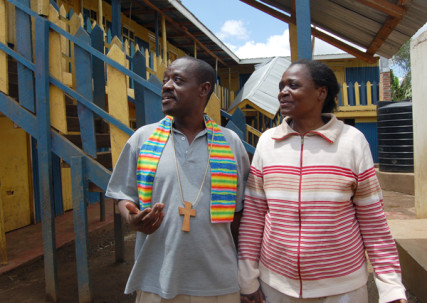 Rev. John Makokha, the founder and Senior Pastor at the Riruta Hope Community Church, and his wife Anne Baraza (Religion News Service photo by Fredrick Nzwili)