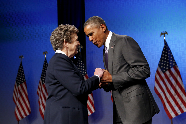 Catholic Health Association President and CEO Sister Carol Keehan greets President Barack Obama as he takes the stage for remarks at the Catholic Health Association conference in Washington on June 9, 2015. Photo courtesy of REUTERS/Jonathan Ernst