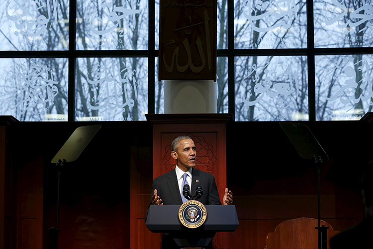 President Barack Obama delivers remarks at the Islamic Society of Baltimore mosque in Catonsville, Md., on Feb. 3, 2016. Photo courtesy of REUTERS/Jonathan Ernst