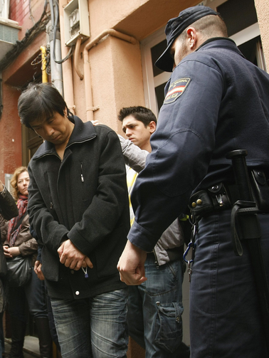 The aftermath of a raid on human traffickers in Barcelona, Spain.