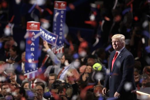 Confetti and balloons fall during celebrations after Republican presidential candidate Donald Trump's acceptance speech on the final day of the Republican National Convention in Cleveland, Thursday, July 21 (AP Photo/Matt Rourke).