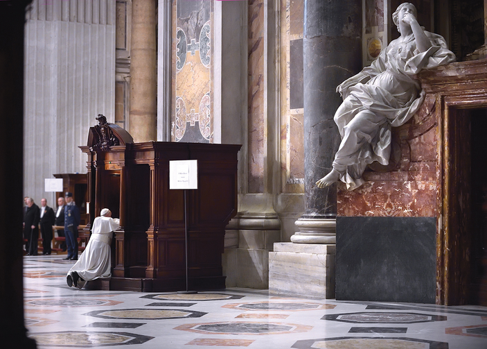 FOR I HAVE SINNED. Pope Francis goes to confession during a Lenten penance service in St. Peter's Basilica on March 13.
