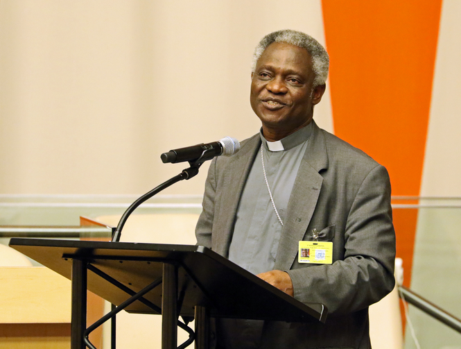Cardinal Peter Turkson, president of the Pontifical Council for Justice and Peace, addresses the audience during a presentation on Pope Francis' encyclical on the environment June 30 at U.N. headquarters in New York City (CNS photo/Gregory A. Shemitz).