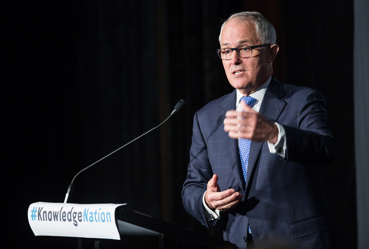 The Man Down Under? The Prime Minister of Australia, The Hon Malcolm Turnbull MP, addressing the luncheon © Knowledge Society 2015. Photograph by Rick Stevens.