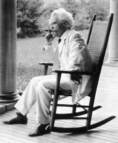 "The Master of Sitting and Storytelling, Mark Twain (1835-1910): ""When I want to read something nice, I sit down and write it myself."""