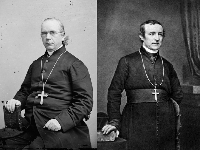 "Two Dueling Civil War Bishops: Patrick Neeson Lynch, Bishop of Charleston (left) and ""Dagger John"" Hughes, Archbishop of New York (right)"