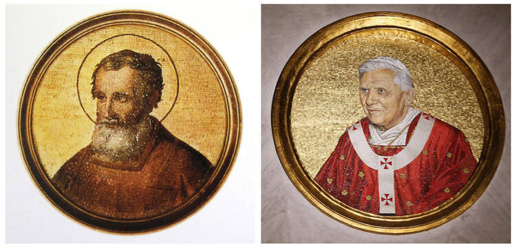 Combination picture of mosaics depicting St. Celestino V and Pope Benedict XVI