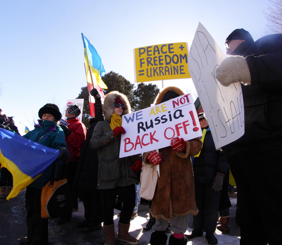 Pro-Ukraine demonstrators protest outside the Russian Embassy in Ottawa, Ontario, on March 16