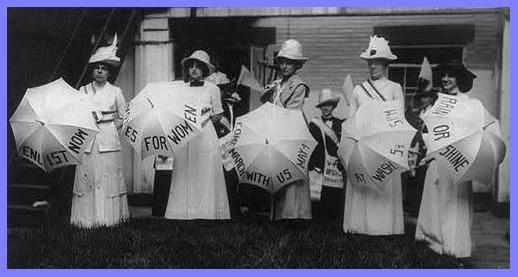 Members of the Women's Political Union promote a march in the early 20th century (Library of Congress)