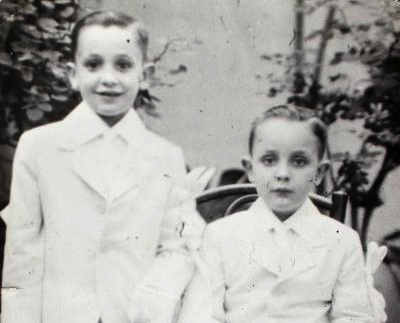 Jorge Mario Bergoglio, now Pope Francis, is pictured, left, with his brother Oscar following their first Communion in this 1942 family photo. (CNS photo/courtesy of Maria Elena Bergoglio via Reuters)