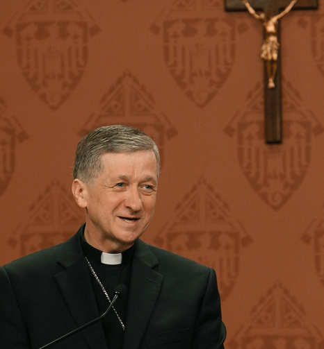 Archbishop Blase J. Cupich addresses media and other bishops during a news conference Sept. 20 at the Quigley Center in Chicago. (CNS photo/Karen Callaway, Catholic New World)