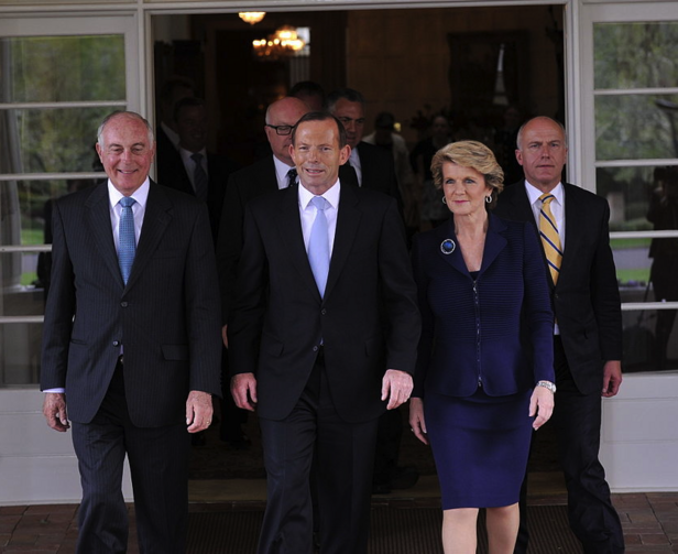 Prime Minister Tony Abbott and ministry leaving the swearing in ceremony (Photo via Wikimedia Commons)