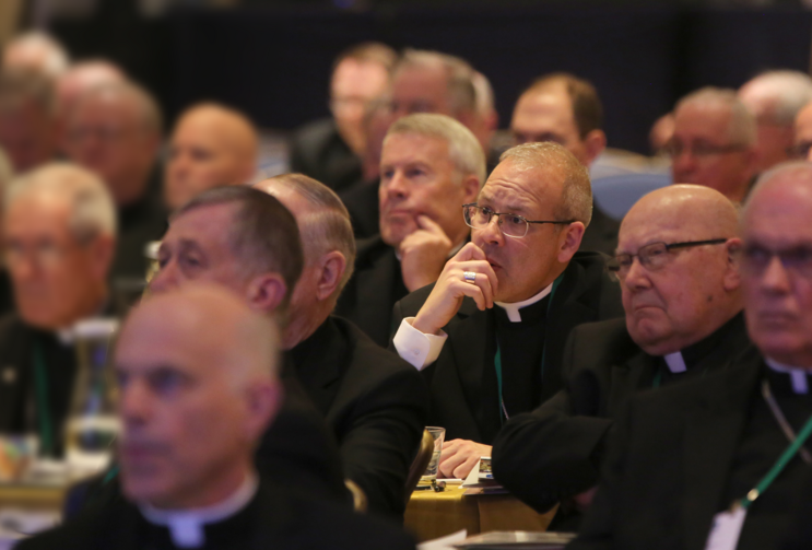 Bishops listen to a speaker Nov. 14, 2018 at the fall general assembly of the U.S. Conference of Catholic Bishops in Baltimore.