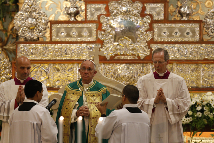 Pope Francis leads vespers with clergy and members of Catholic movements at Assumption Cathedral in Asuncion, Paraguay, July 11. (CNS photo/Paul Haring)