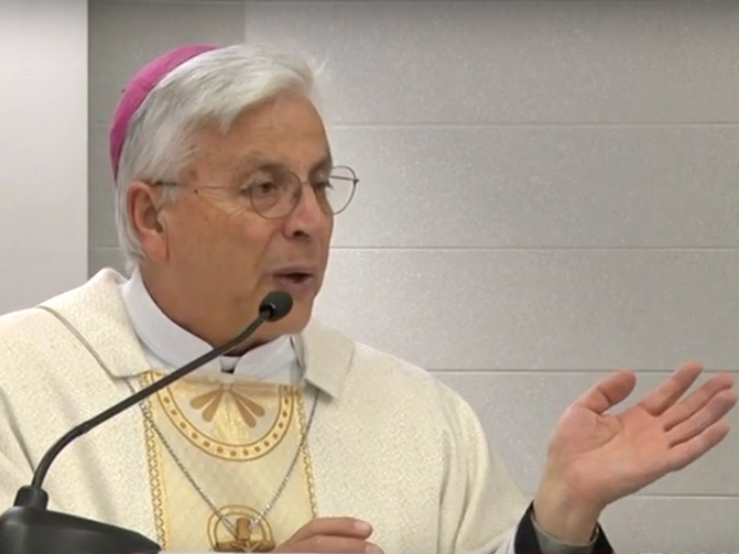Bishop Gianfranco Todisco requested an early retirement, saying he wanted to return to missionary work. Screenshot from YouTube