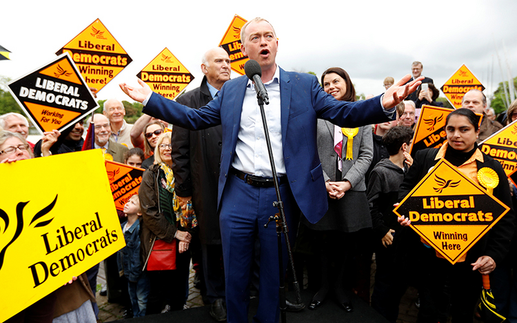 The leader of the Liberal Democrats Party, Tim Farron, speaks at the launch of the party's general election campaign in Kingston-Upon-Thames, Britain, on May 1, 2017. Photo courtesy of Reuters/Peter Nicholls