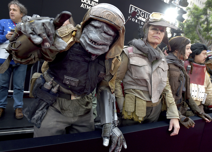 "Characters from ""Rogue One: A Star Wars Story"" appear at the film's world premiere at the Pantages Theatre on Dec. 10 in Los Angeles. (Photo by Jordan Strauss/Invision/AP)"