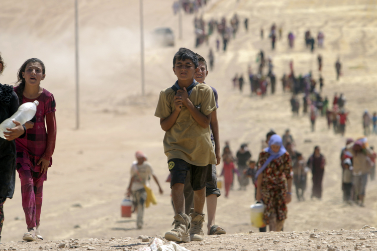 Children in flight from ISIS in Sinjar, Iraq, Aug. 10, 2014. (CNS photo/Rodi Said, Reuters)