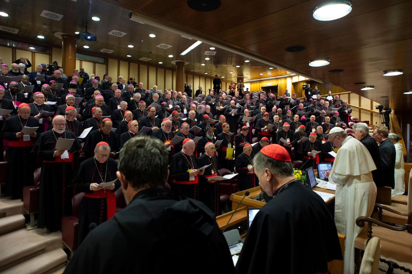 Pope Francis leads the opening session of the meeting on the protection of minors. (CNS photo/Vatican Media)