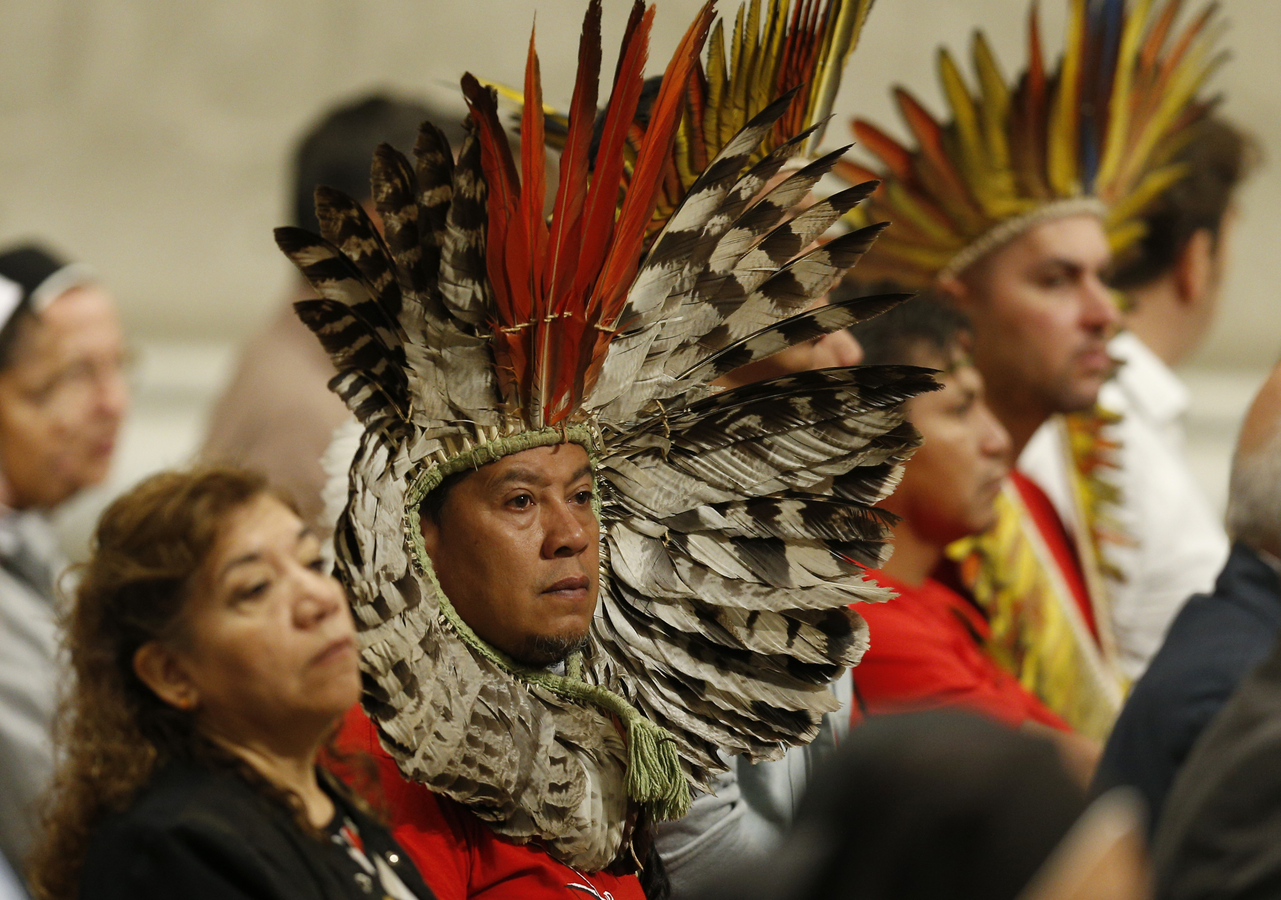 Indigenous people attend Pope Francis' celebration of a Mass marking World Mission Day in St. Peter's Basilica at the Vatican Oct. 20, 2019. (CNS photo/Paul Haring)