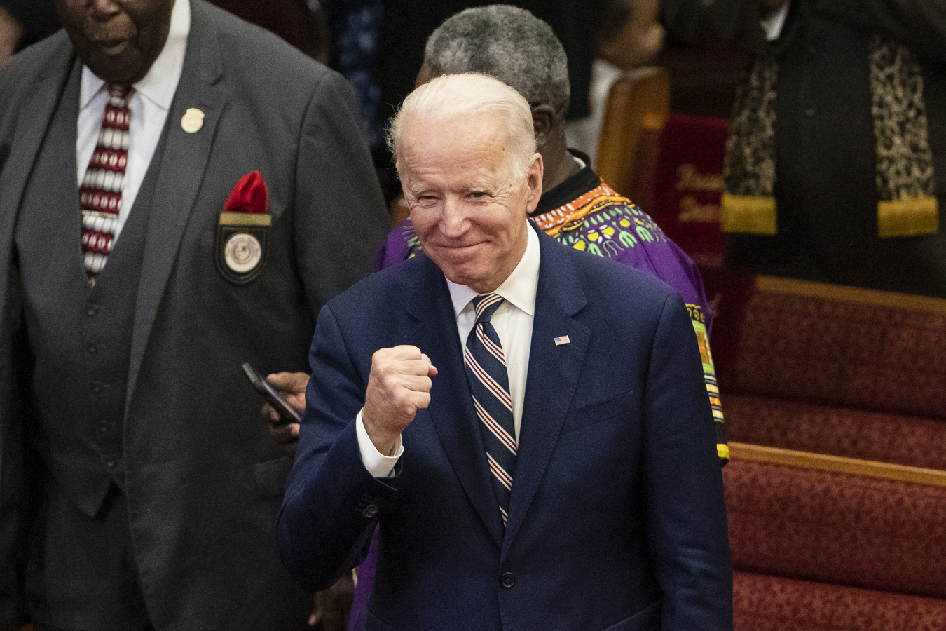 Democratic presidential candidate Joe Biden departs services at the Royal Missionary Baptist Church in North Charleston, S.C., on Feb. 23. (AP Photo/Matt Rourke)
