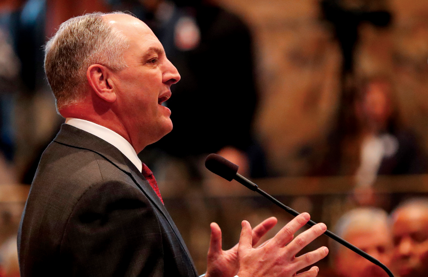 Governor John Bel Edwards speaks at the opening session of the Louisiana Legislature in Baton Rouge on March 12. (AP Photo/Gerald Herbert, Pool)