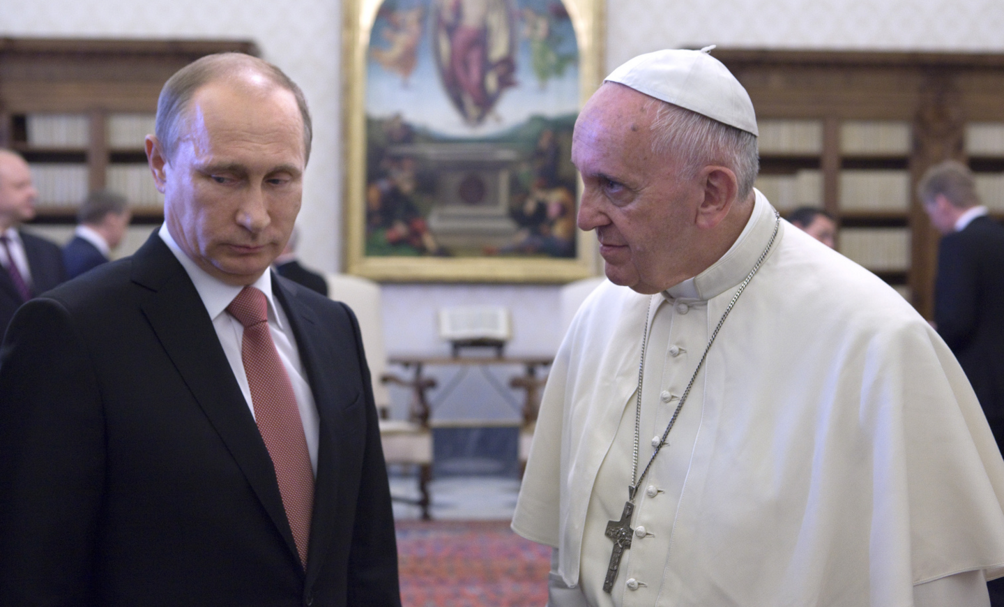 Russian President Vladimir Putin meets with Pope Francis at the Vatican in June 2015. (CNS photo/Maria Grazia Picciarella, pool)