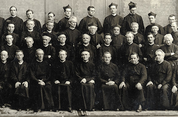 The Jesuits of St. Ignatius College Preparatory and Santa Clara College in San Francisco, take in 1905.