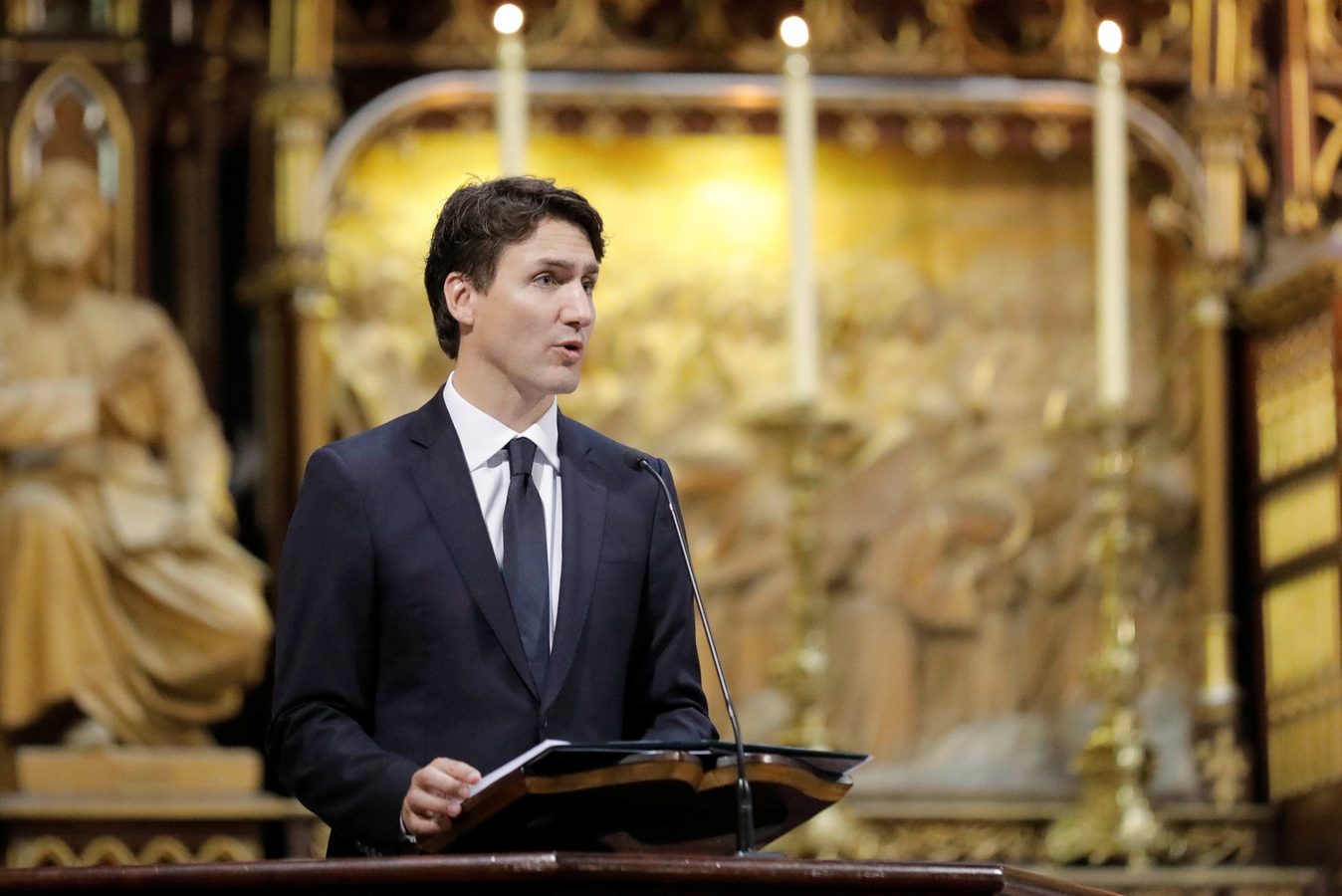 Canadian Prime Minister Justin Trudeau addresses the congregation during the ceremonial Mass on May 17, 2017, at Notre-Dame Basilica in Montreal for the city's 375th birthday celebrations. (CNS photo/Dario Ayala, Reuters)