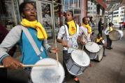 Members of Chicago's St. Malachy School drum corps play during a rally for school choice outside an Illinois state building in Chicago in September 2014. (CNS photo/Karen Callaway, Catholic New World)