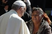 Pope Francis greets woman at Palmasola prison in Santa Cruz, Bolivia, July 10. (CNS photo/Paul Haring)