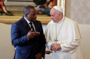 Pope Francis talks with Congolese President Joseph Kabila during a private audience at the Vatican Sept. 26. (CNS photo/Andrew Medichini, pool via Reuters)