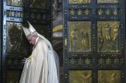 Pope Francis closes the Holy Door of St. Peter's Basilica before a Mass to conclude the Extraordinary Jubilee of Mercy at the Vatican Nov. 20. In concluding the Holy Year, the pope called for mercy to become a permanent part of the lives of believers. (CNS photo/Maria Grazia Picciarella, pool)