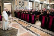 Pope Francis leads a meeting with bishops and seminarians associated with Pius XI Seminary at the Vatican Dec. 10. The seminary prepares priests for the Puglia region of southern Italy. (CNS photo/L'Osservatore Romano)
