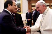 Pope Francis and Egypt's President Abdel Fattah al-Sisi shake hands during a private audience in 2014 at the Vatican. (CNS photo/Gabriel Bouys pool, via Reuters)