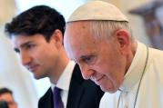 Pope Francis meets Canada's Prime Minister Justin Trudeau during a private audience at the Vatican on May 29. (CNS photo/Ettore Ferrari, Reuters pool)