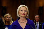 Callista Gingrich is pictured during a U.S. Senate Foreign Relations Committee confirmation hearing in Washington July 18. President Donald Trump was to swear in Gingrich Oct. 24.