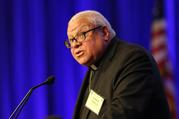 Bishop George V. Murry of Youngstown, Ohio, chair of the U.S. bishops' Ad Hoc Committee Against Racism, speaks on Nov. 13 during the fall general assembly of the U.S. Conference of Catholic Bishops in Baltimore. (CNS photo/Bob Roller)
