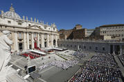 Pope Francis celebrates Mass marking the feast of Sts. Peter and Paul in St. Peter's Square at the Vatican on June 29. (CNS photo/Paul Haring)