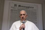 Pope Francis visits Il Messaggero daily newspaper office in Rome Dec. 8.