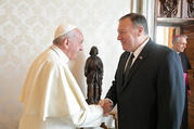 Pope Francis meets U.S. Secretary of State Mike Pompeo during a private audience at the Vatican Oct. 3, 2019. (CNS photo/Vatican Media)