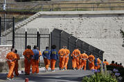 Inmates at San Quentin State Prison in San Quentin, Calif., on Aug. 16, 2016. (AP Photo/Eric Risberg, File)