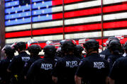New York City police officers in Times Square on June 1. (CNS photo/Mike Segar, Reuters)