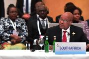 President Jacob Zuma addressing the BRICS Leaders Meeting ahead of the G-20 Leaders Summit, July 7 in Hamburg. (Photo: GCIS)