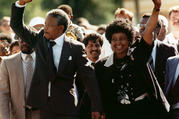 Nelson Mandela and Winnie Mandela walk together on Feb. 11, 1990, upon his release from prison in Cape Town. Anti-apartheid activist Winnie Madikizela-Mandela died on April 2 at the age of 81. (AP Photo)