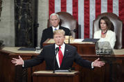President Donald Trump delivers his State of the Union address on Feb. 5 to a joint session of Congress on Capitol Hill in Washington, as Vice President Mike Pence and Speaker of the House Nancy Pelosi watch. (AP Photo/Andrew Harnik)