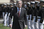 "National Security Adviser John Bolton, seen here at the commencement for the United States Coast Guard Academy in New London, Conn., on May 22, has been a proponent of putting ""maximum pressure"" on Iran. (AP Photo/Jessica Hill)"