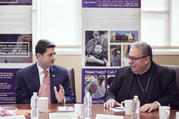 House Speaker Paul Ryan, R-Wis., visits with Bishop Michael F. Olson of Fort Worth, Texas, at Catholic Charities Fort Worth campus, April 3 (CNS photo/Juan Guajardo, North Texas Catholic Magazine).