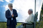 "German filmmaker Wim Wenders is pictured in this undated photo with Pope Francis during the production of his documentary film, ""Pope Francis — A Man of His Word."" (CNS photo/Vatican Media, handout)"