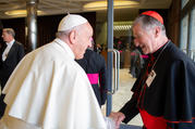10.17.2018 Pope Francis greets Cardinal Blase J. Cupich of Chicago before a session of the Synod of Bishops on young people, the faith and vocational discernment at the Vatican Oct. 16. (CNS photo/Vatican Media)
